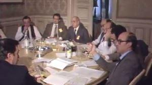 Pedro Luis Uriarte (eskuinean), Kontzertu Ekonomikoari buruz 1983an egin lehen bileran. EiTB