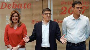 Lopez, Diazekin eta Sanchezekin batera, PSOEren primarioen eztabaidan. EFE