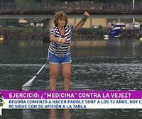 Begoña Zaldua, una oriotarra de 80 años aficionada al paddle surf