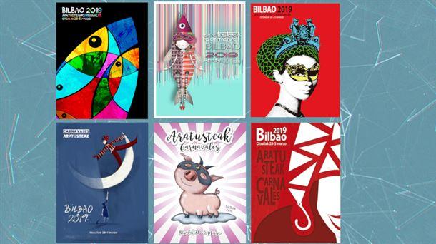 Carteles finalistas para el Carnaval de Bilbao 2019