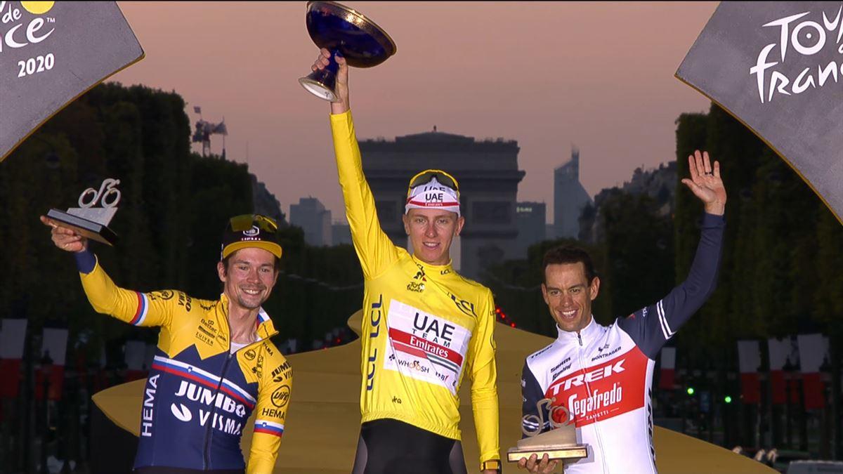 Tadej Pogacar completa la remontada y se proclama campeón en Paris por delante de Roglic y Porte